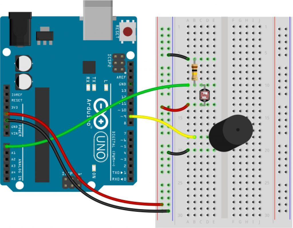 Arduino Analog input ldr photo resistor circuit