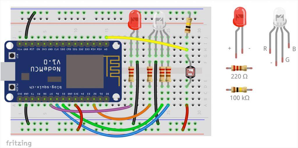 NodeMCU circuit with led, ldr, rgb