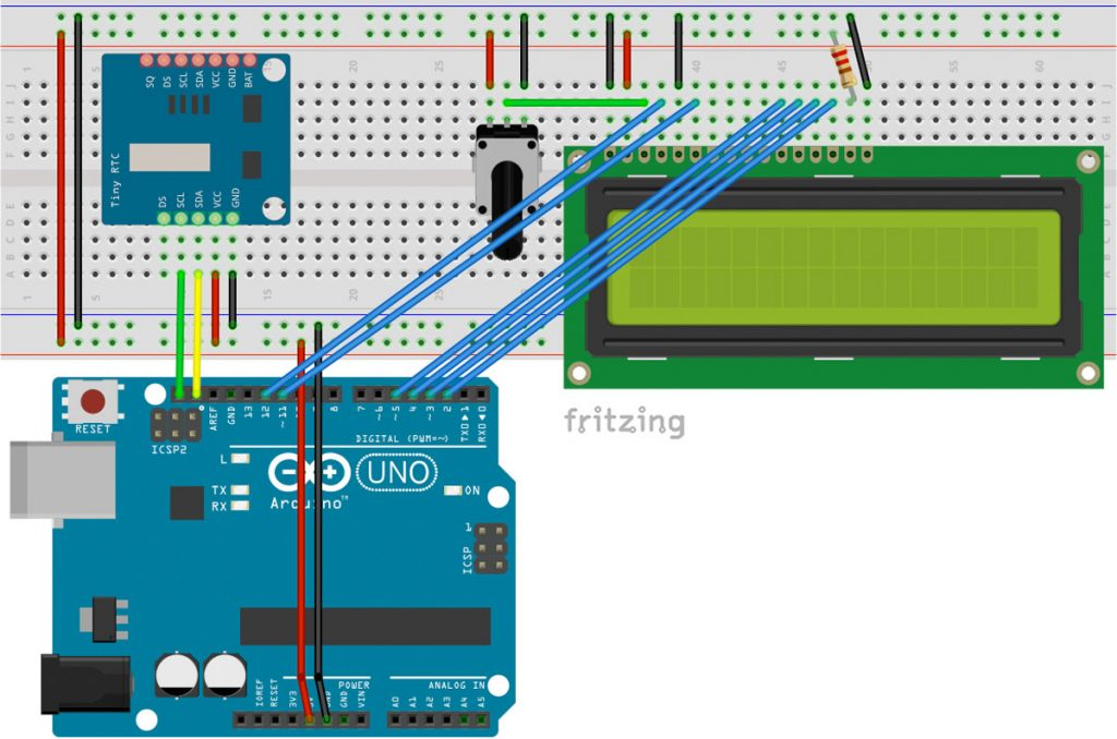Arduino real time clock (RTC) module and LCD display
