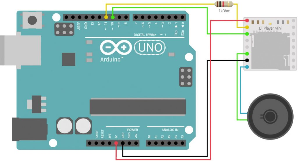 DFPlayer Mini with Arduino Wiring Diagram