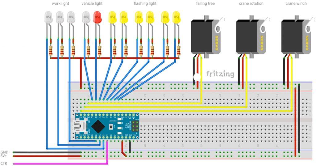 RaylFX Arduino Falling Tree Servo Forestry Module Wiring Diagram