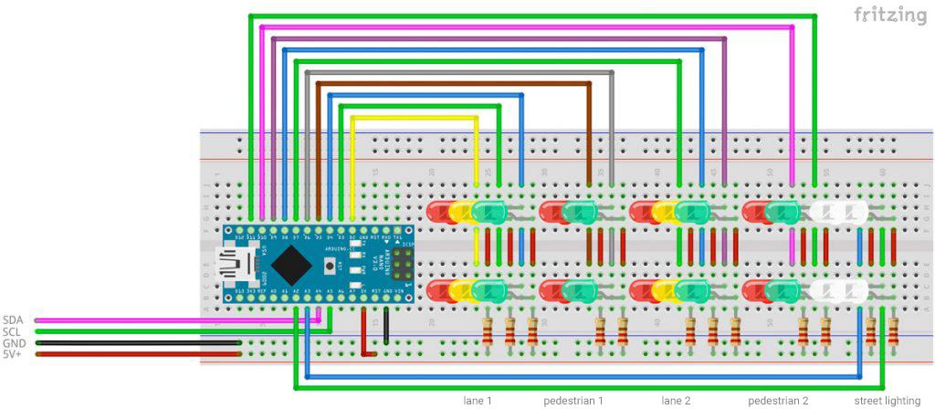 RaylFX traffic light module wiring diagram for model railroad