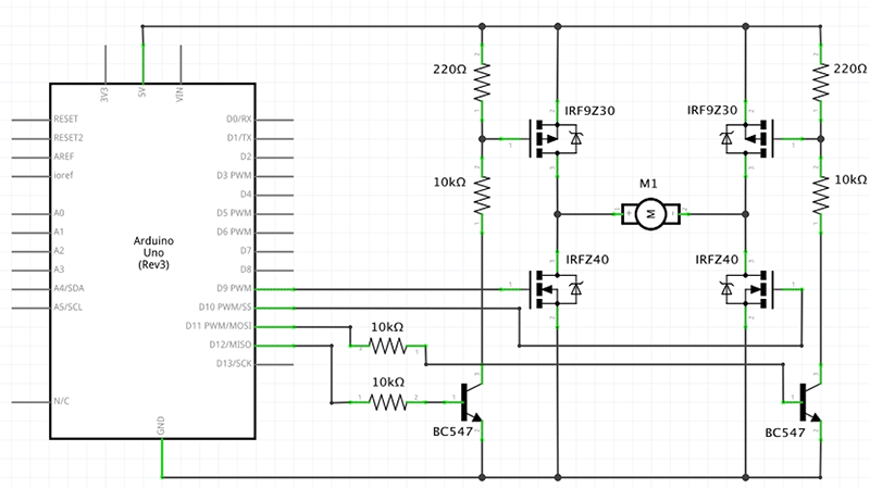 Motorsteuerung mit einer MOS-FET Brücke - Arduino Tutorial