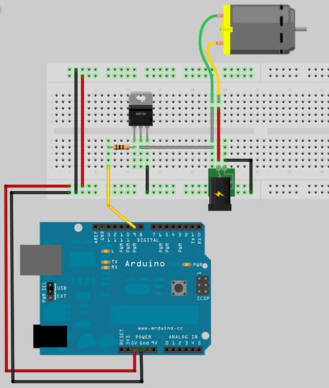 Motorsteuerung mit einem Transistor - Arduino Tutorial