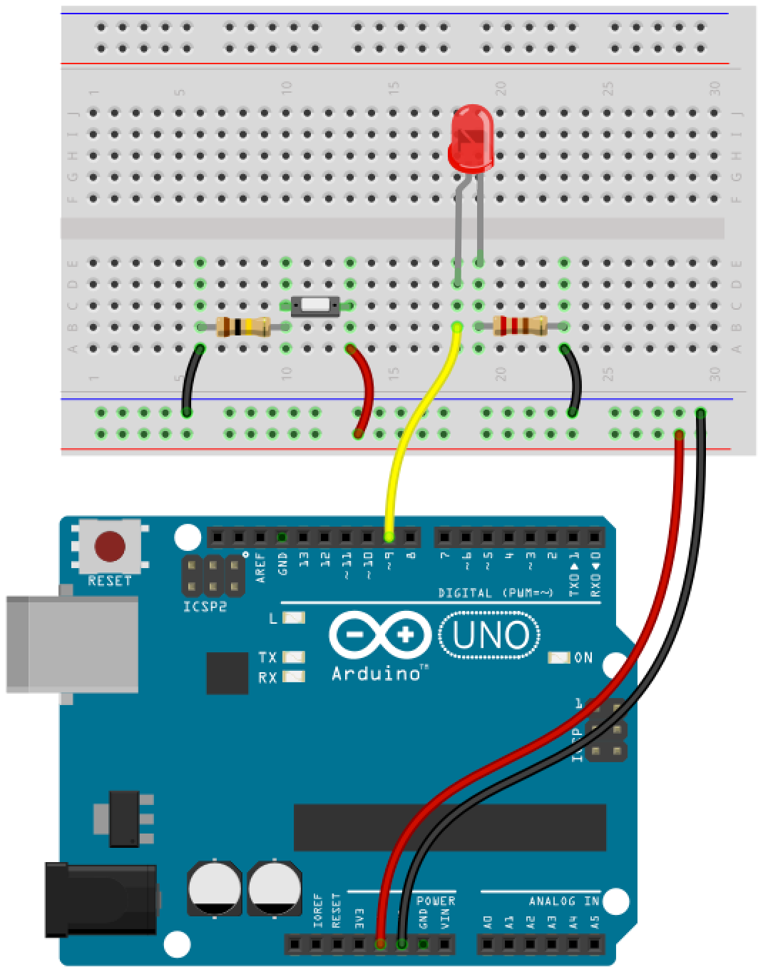 Arduino button circuit 10
