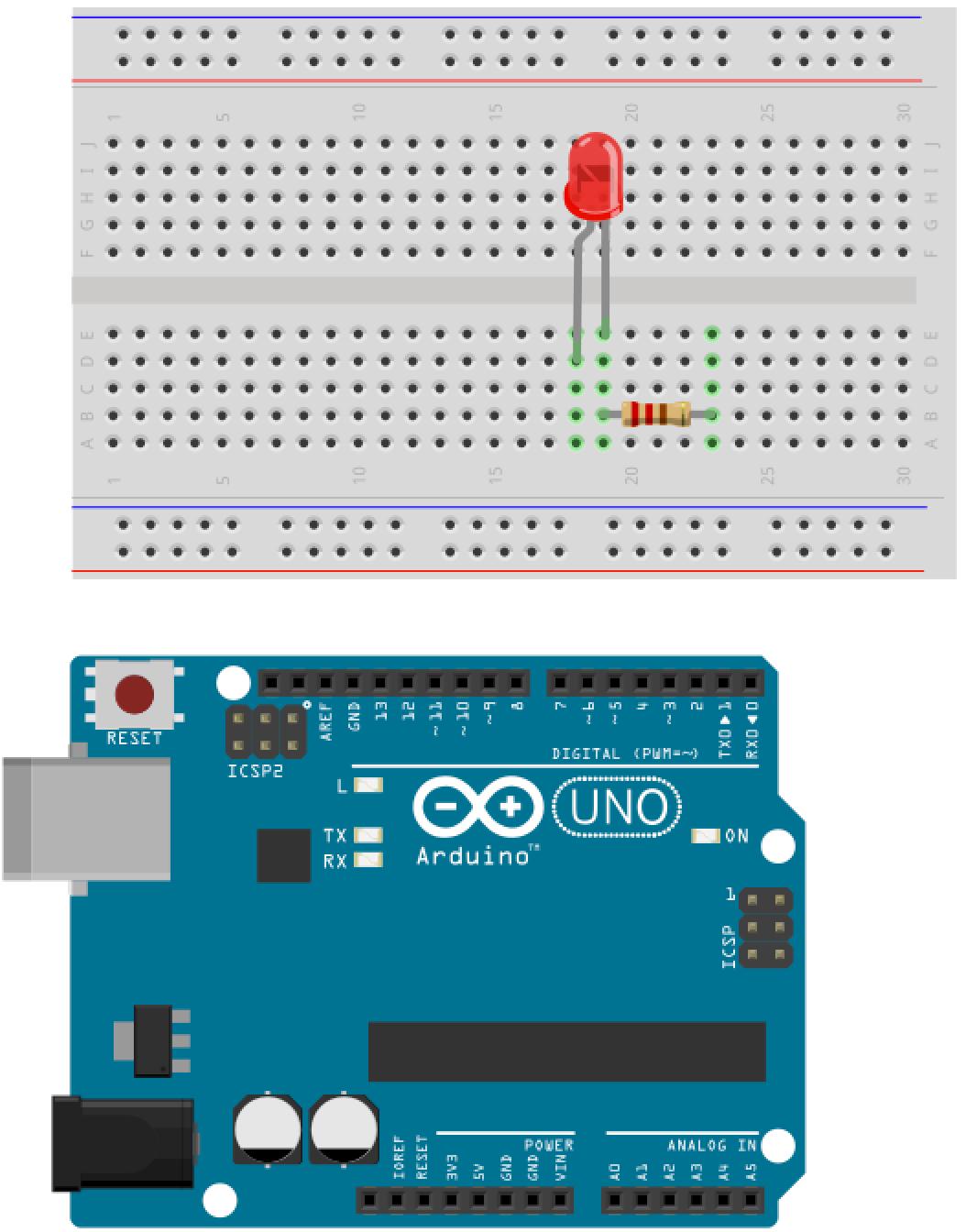 Unit fading leds using the analog output start hardware
