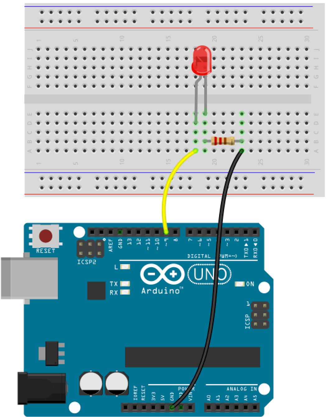 LED an Pin 9