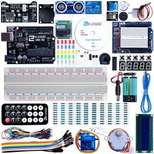 Elegoo UNO Projekt Super Starter Kit mit Tutorial, UNO R3, 5V-Relais, Stromversorgungsmodul, Servomotor, Erweiterungsplatine des Prototyps und viel Zubehör für Arduino