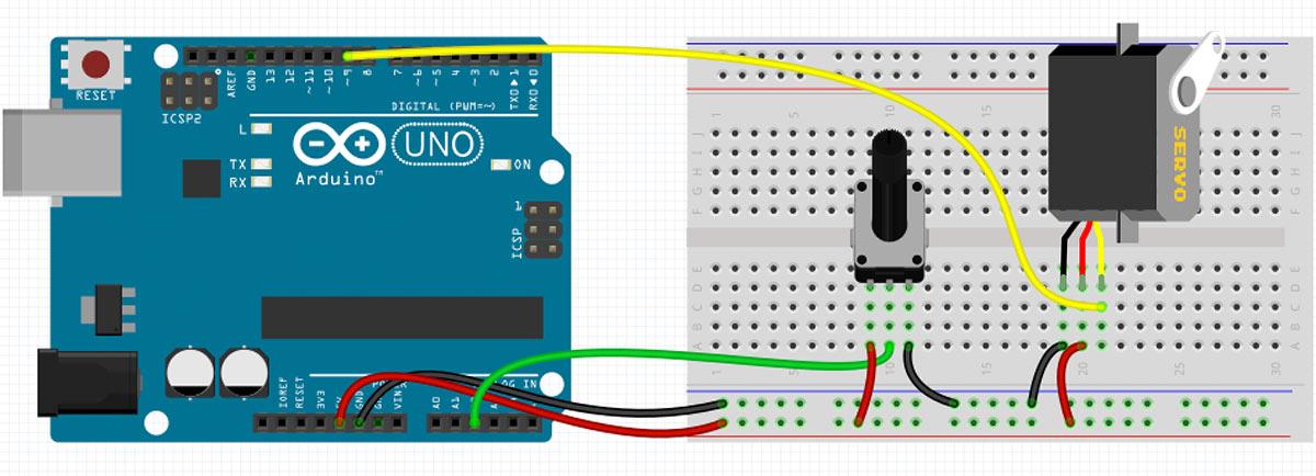 Arduino Servo Fritzing Schaltung