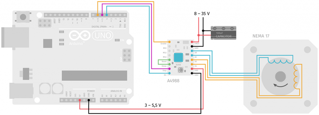 Arduino A4988 Nema17 Stepper Motor