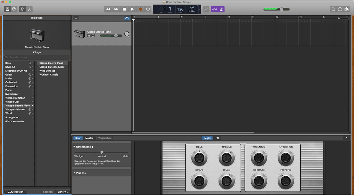 Teensy steuert Instrument in Garageband