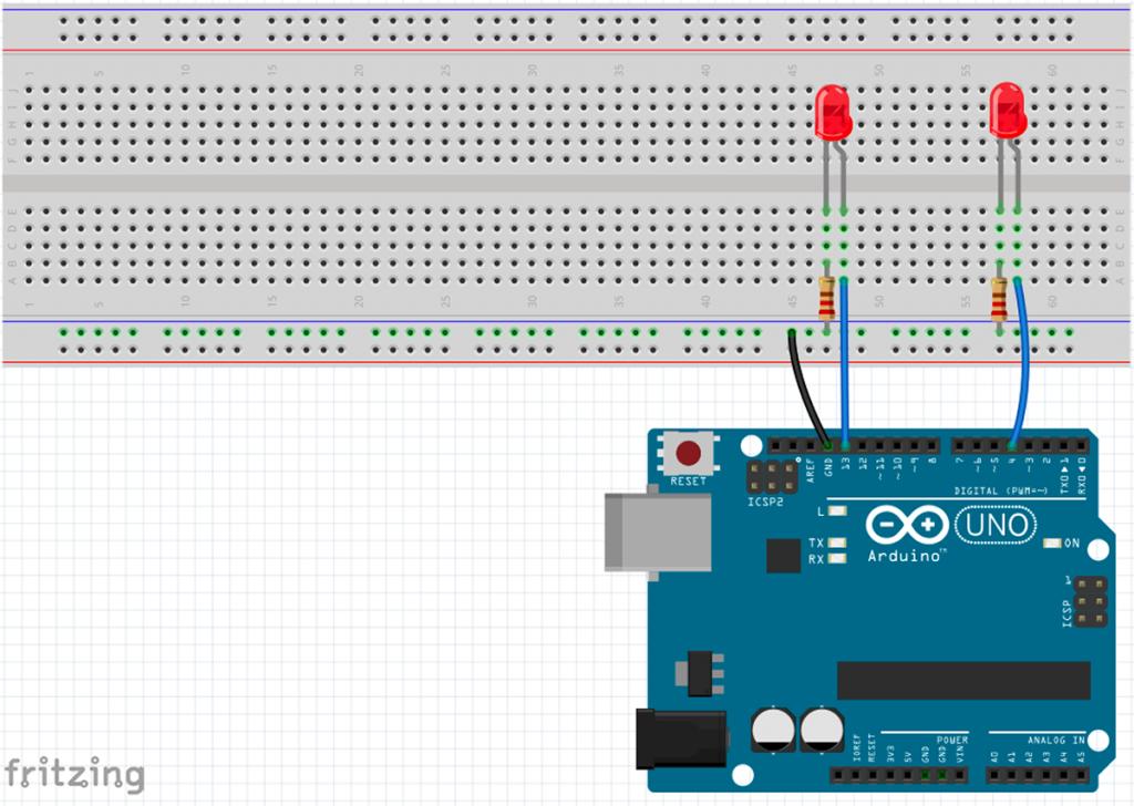 Arduino mit zwei LEDs