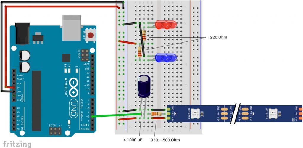 Halloween-Kürbis mit Arduino Schaltplan mit WS2812 LEDs