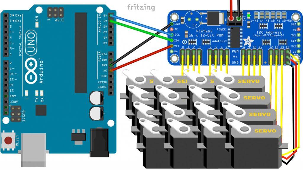 Viele Servos mit Arduino steuern - PCA9685