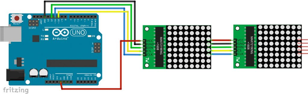 Arduino LED Matrix Display mit Max7219 Schaltplan