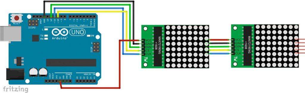 Arduino LED Matrix Display mit Max7219 Schaltplan