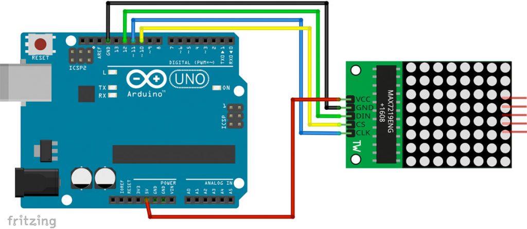 Kaminfeuer mit Arduino und LED Matrix Schaltplan