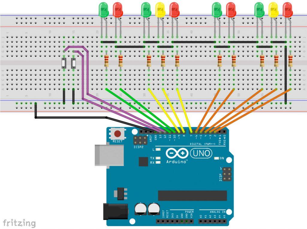 Ampelanlage mit Arduino und Taster, Schalter, Anforderungstaster