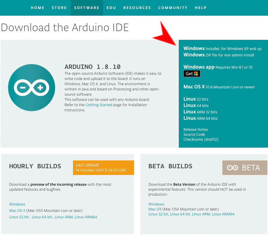 Download der Arduino Software (IDE)