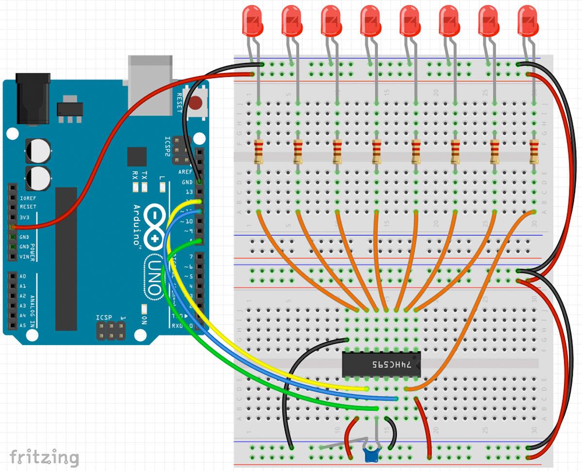Arduino Schieberegister 74HC595 Schaltplan