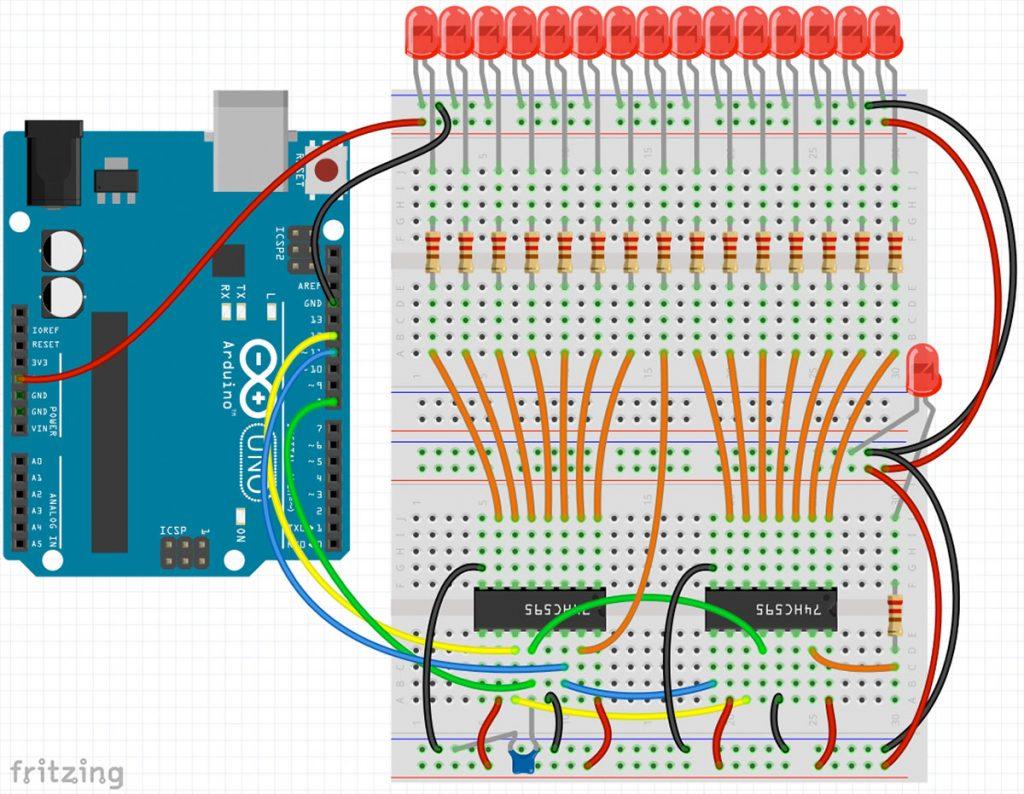 Arduino Schieberegister 74HC595 Schaltplan bei mehrfachen Schieberegistern