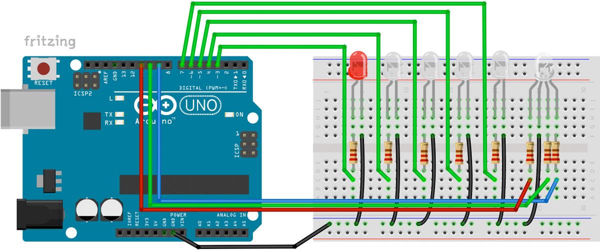 Arduino Wohnhausbeleuchtung Modelleisenbahn Diorama Schaltplan