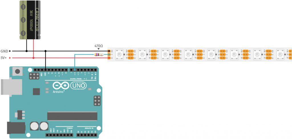 US Police Lights mit Arduino und WS2812-LED-Strip Schaltplan Externe Spannungsversorgung