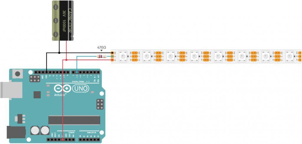 US Police Lights mit Arduino und WS2812-LED-Strip Schaltplan