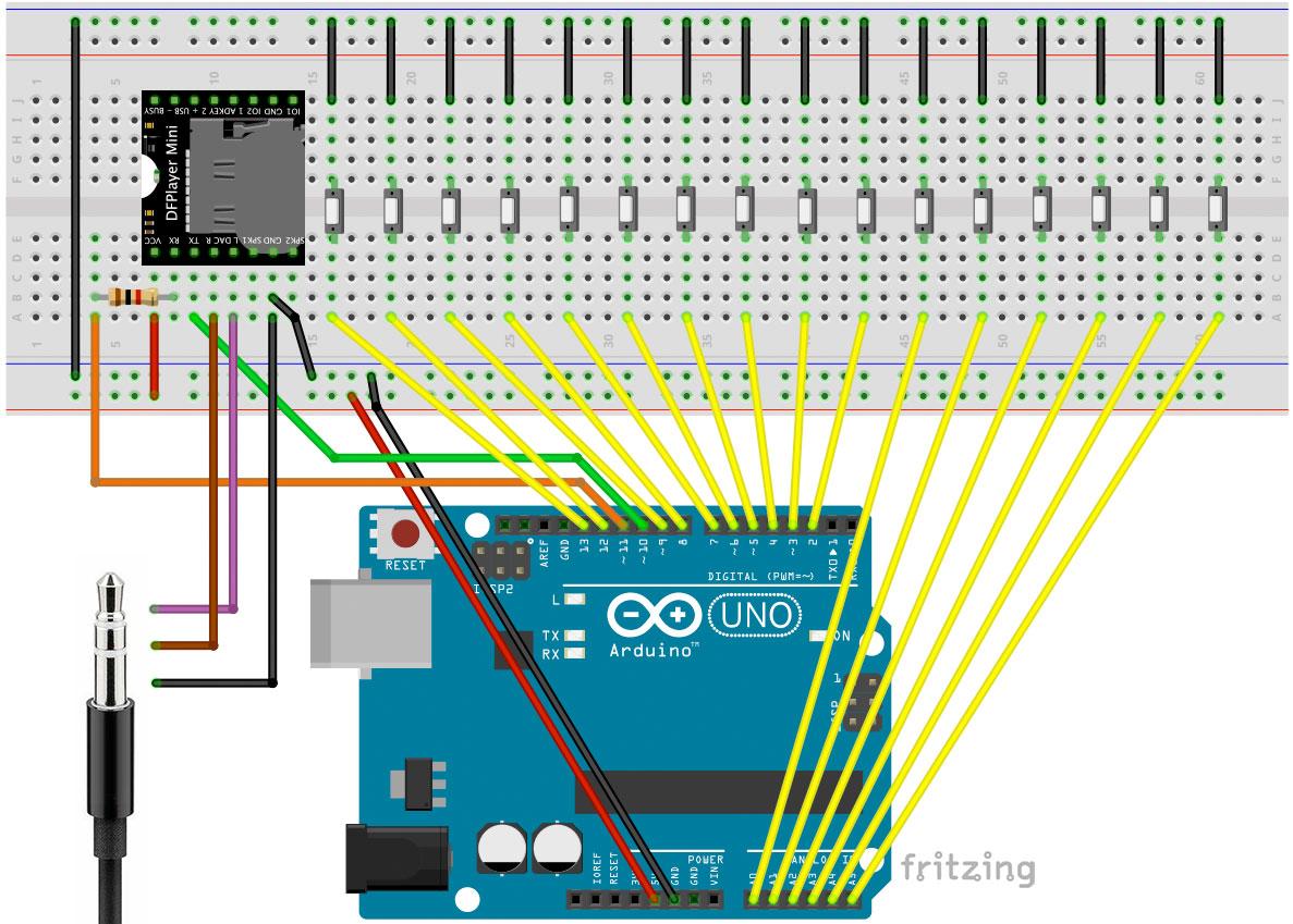 Jukebox mit Arduino Stereo Lautsprecher Schaltung Korrekte Variante