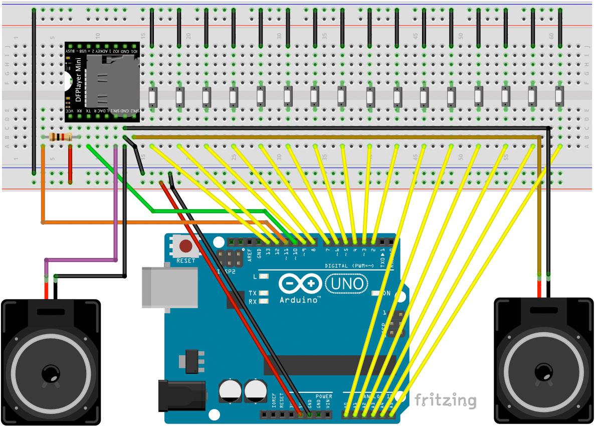 Jukebox mit Arduino Stereo Lautsprecher Schaltung