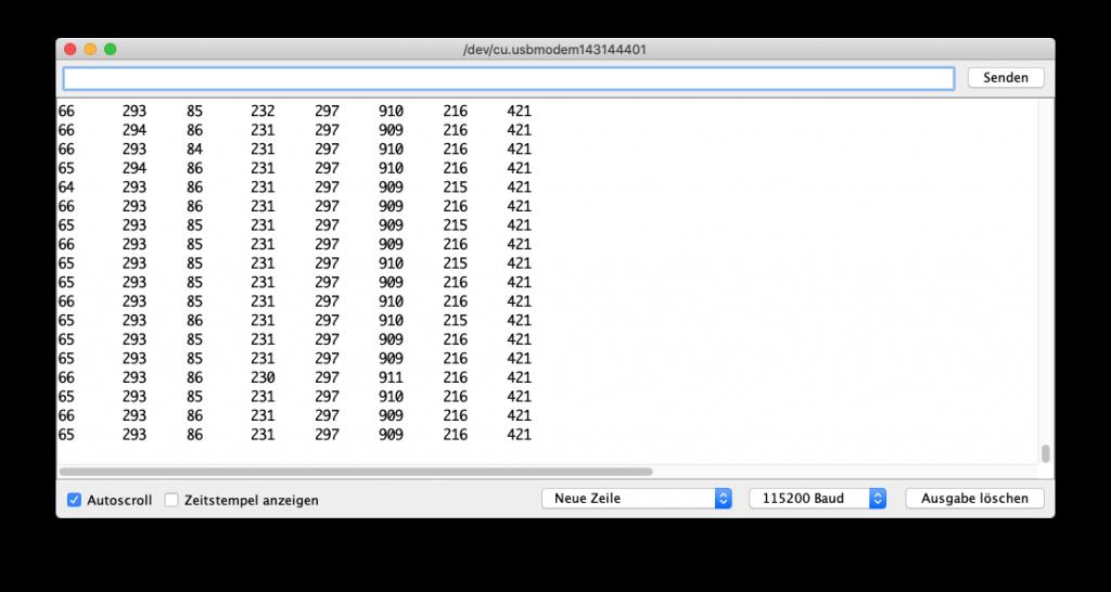 Potentiometer im Seriellen Monitor