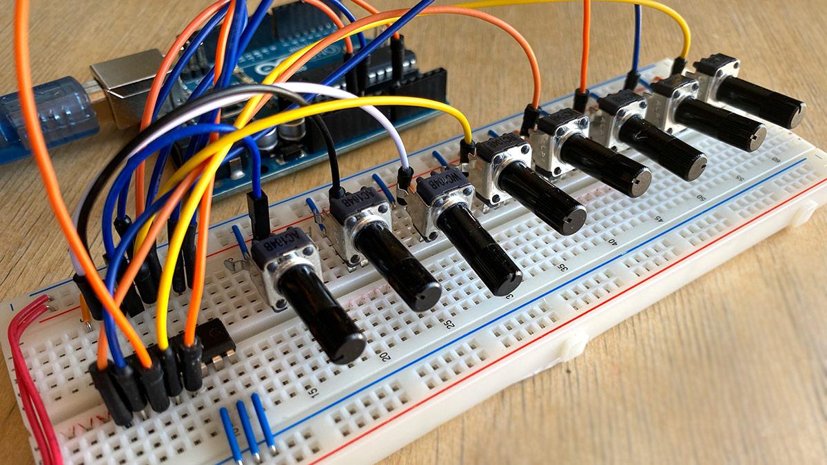 Arduino viele Potentiometer auslesen mit dem 74HC4051