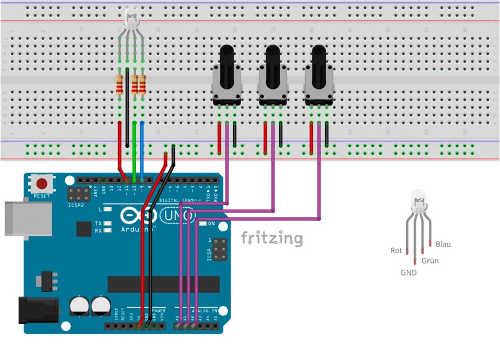 Schaltung Arduino RGB LEDs