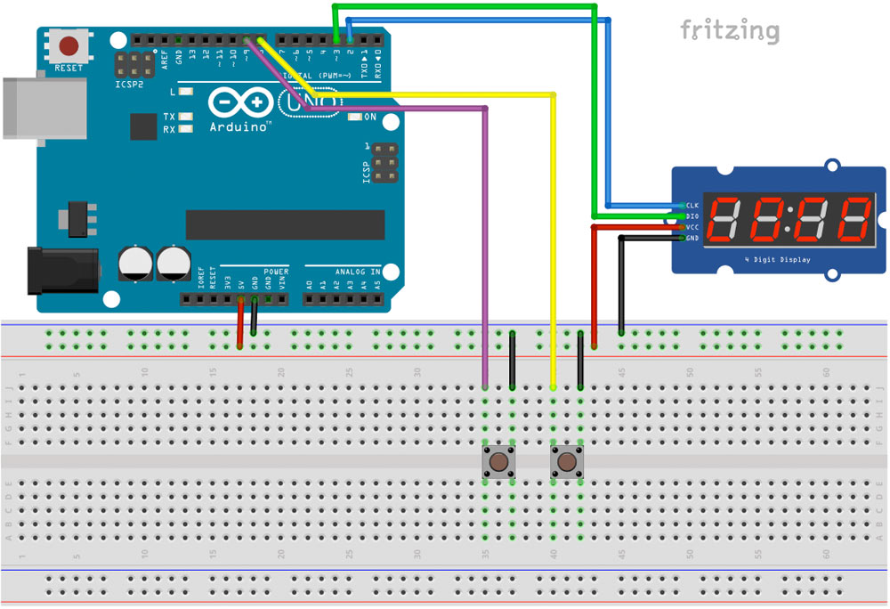 Stoppuhr mit Arduino und Segmentanzeige TM1637 Schaltplan