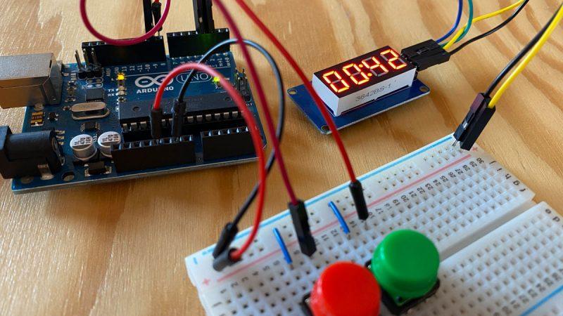 Stoppuhr mit Arduino und Segmentanzeige TM1637