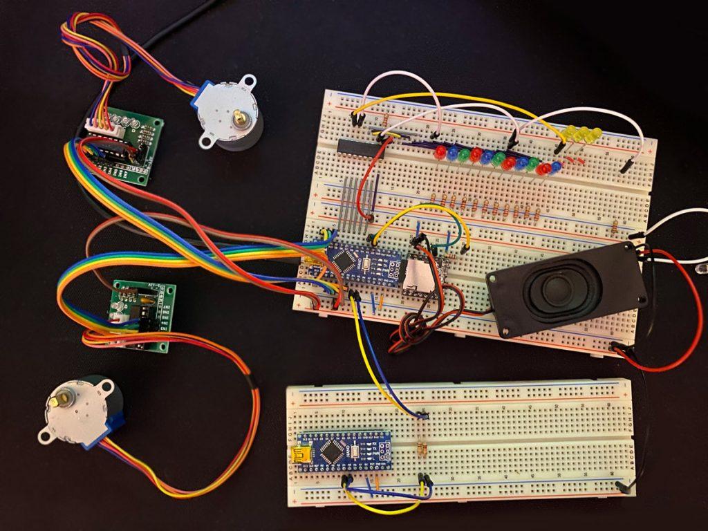 RailFX Effekte für Modellbahn und Modellbau mit Arduino Nano Schaltplan des Jahrmarkt-Moduls Close-Up