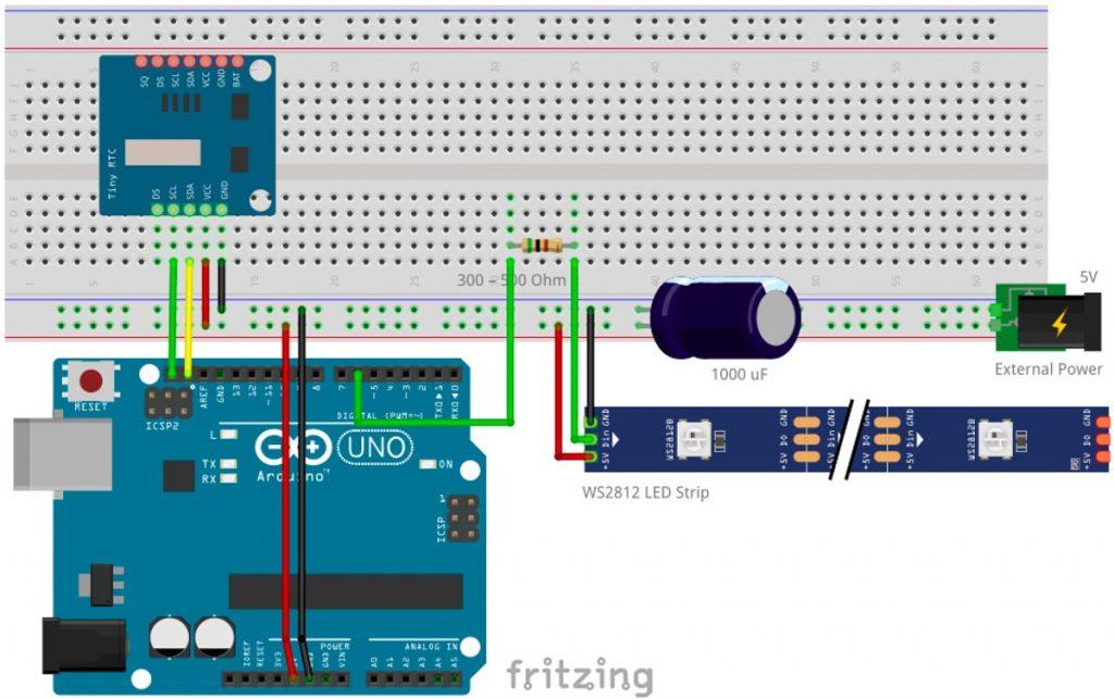 Arduino Rheinturm Lichtpegel Uhr mit Arduino