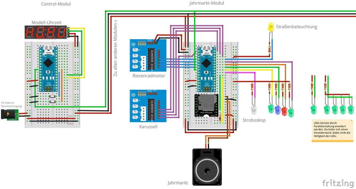 RailFX Jahrmarkt Rummel Karussell Schaltplan mit Arduino für die Modelleisenbahn Modellbahn