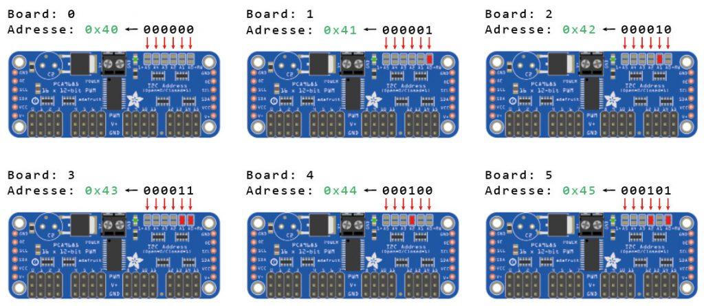 Viele Servos mit Arduino steuern - Viele PCA9685 Module Adressen zuweisen
