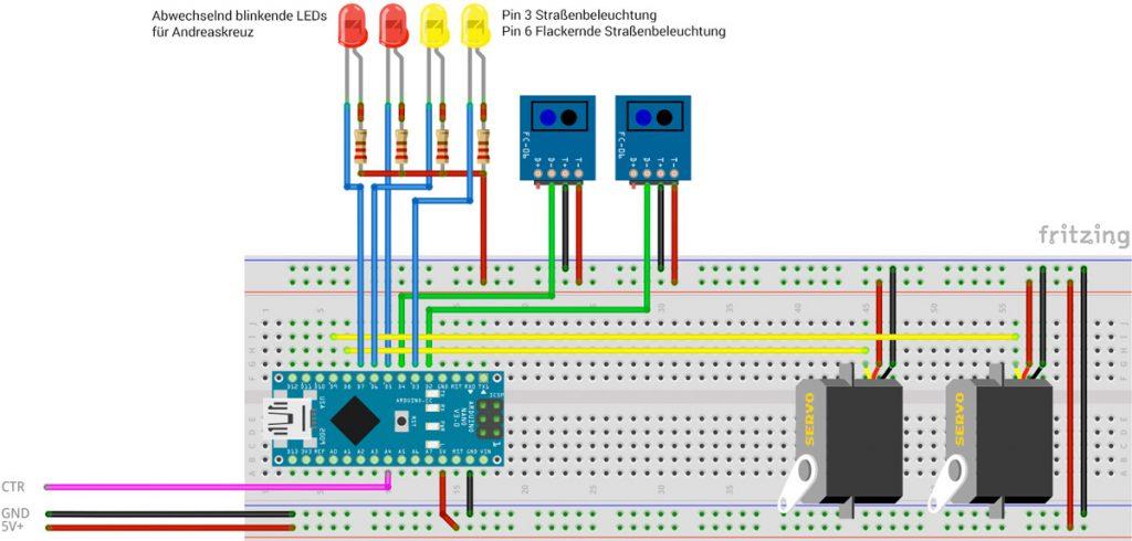 RailFX Modellbahn, Modellbau Arduino Bahnübergang mit Schranke und Andreaskreuz Schaltplan Circuit