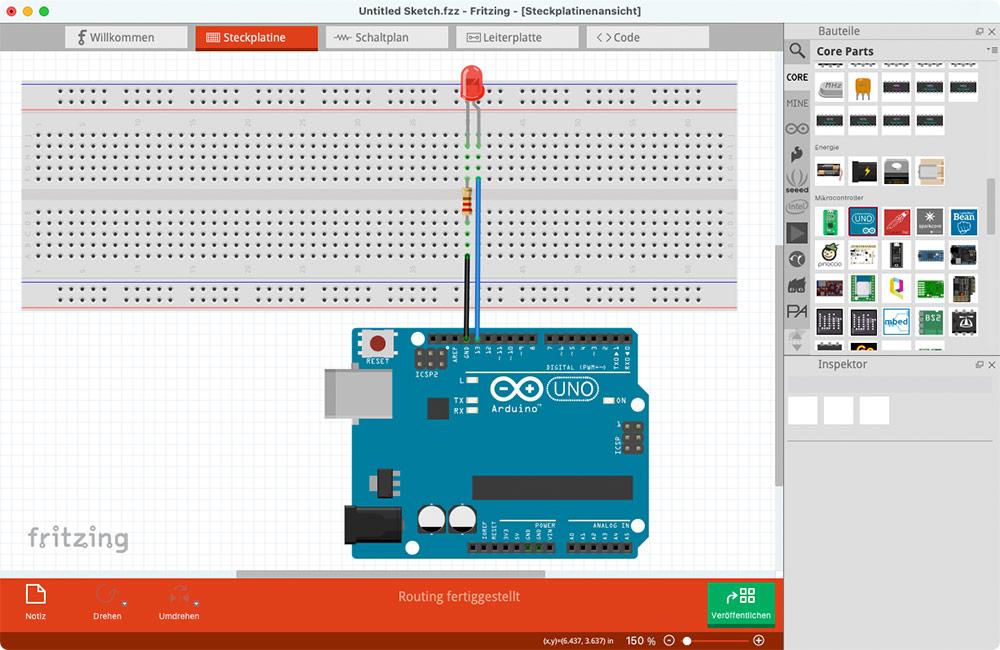Fritzing Anleitung Steckplatinen-Ansicht : Widerstand, LED und Arduino-Board