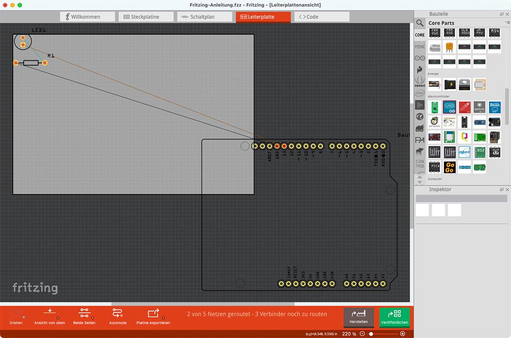 Fritzing Anleitung Leiterplatte PCB Platine Ansicht