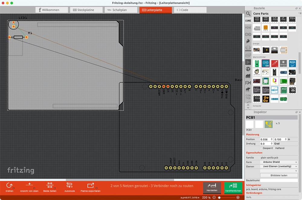 Fritzing Anleitung Leiterplatte PCB Platine Ansicht Platinenform