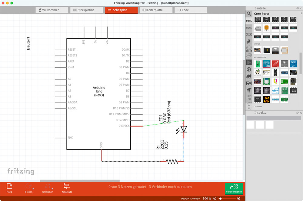 Fritzing Anleitung Schaltplan Schematics Ansicht Bauteile arrangieren