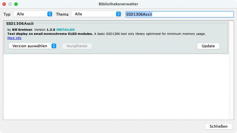 RailFX Zugzielanzeiger ESP32 Arduino IDE SSD1306 Ascii Bibliothek