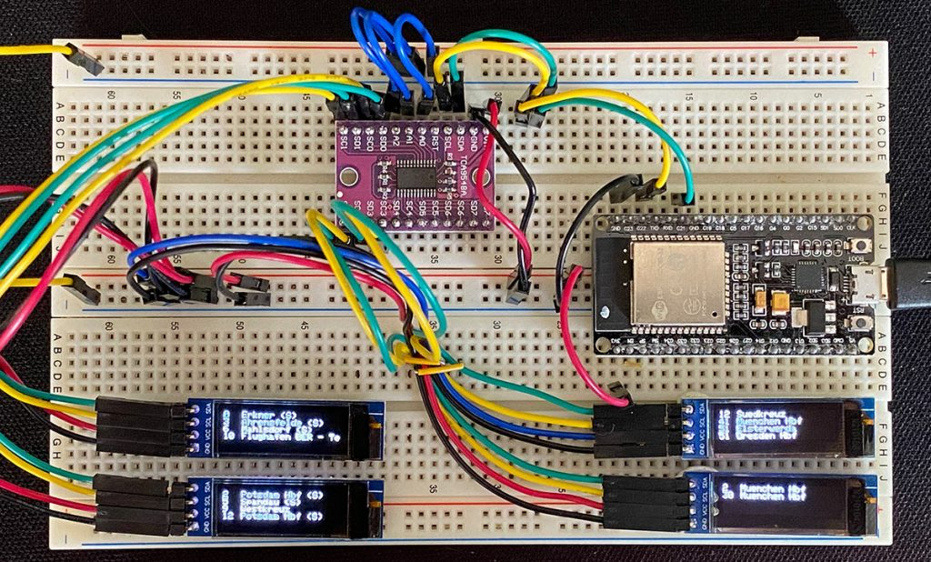 RailFX Zugzielanzeiger ESP32 Arduino IDE Ansicht von oben